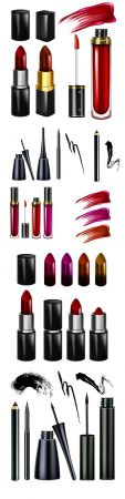 Lipstick and mascara cosmetics make up realistic 3d illustrations