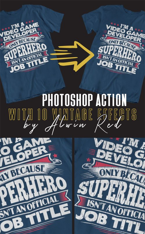 T-Shirt Photoshop Action + 10 Vintage Effects