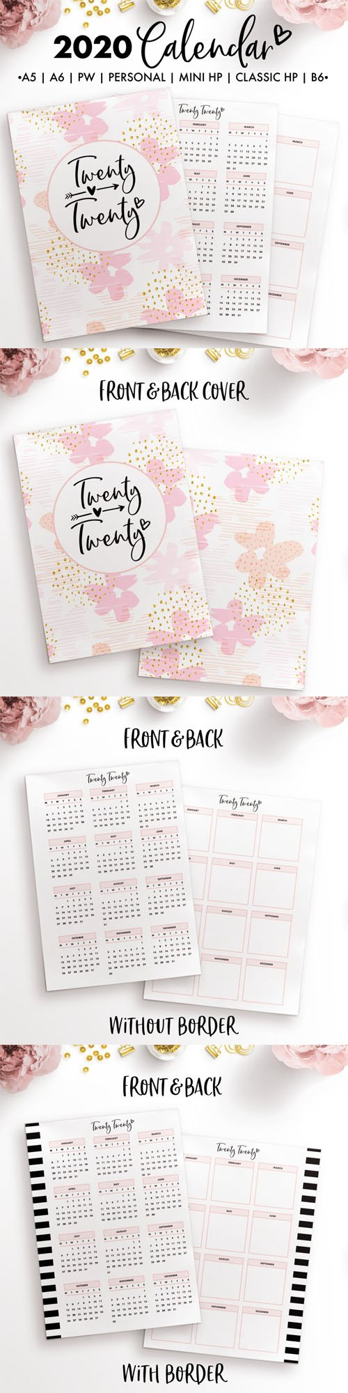 2020 Calendar - 3 Pages [A5/A6/B6/Personal/Personal Wide/Mini HP/Classic HP]