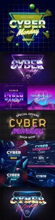 Cyber Monday retro futuristic design banner