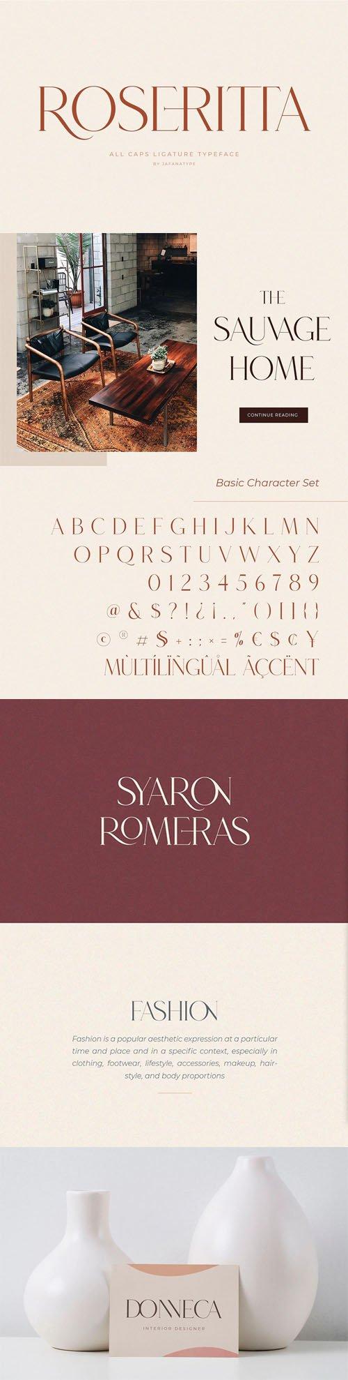 Roseritta - All Caps Ligature Typeface
