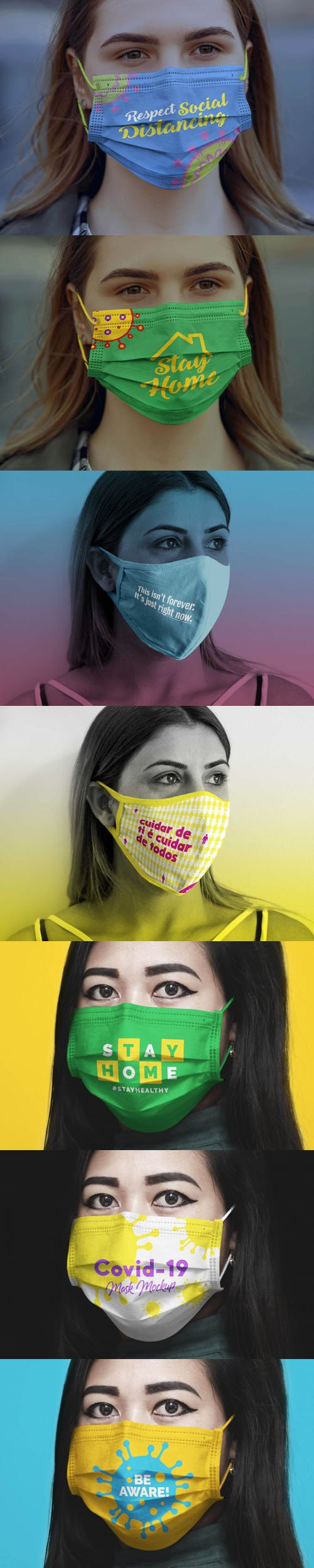 Coronavirus Medical Face Mask PSD Mockups Collection