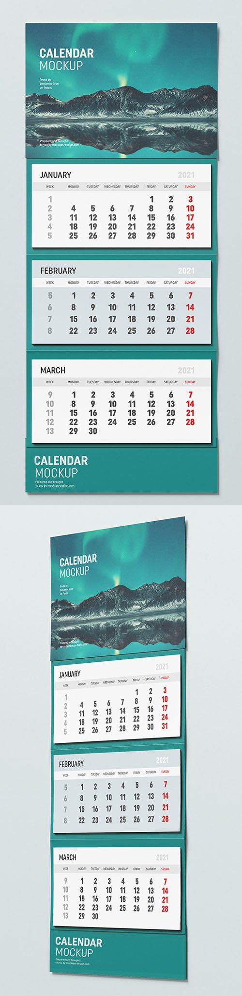 2021 Wall Calendar PSD Mockup