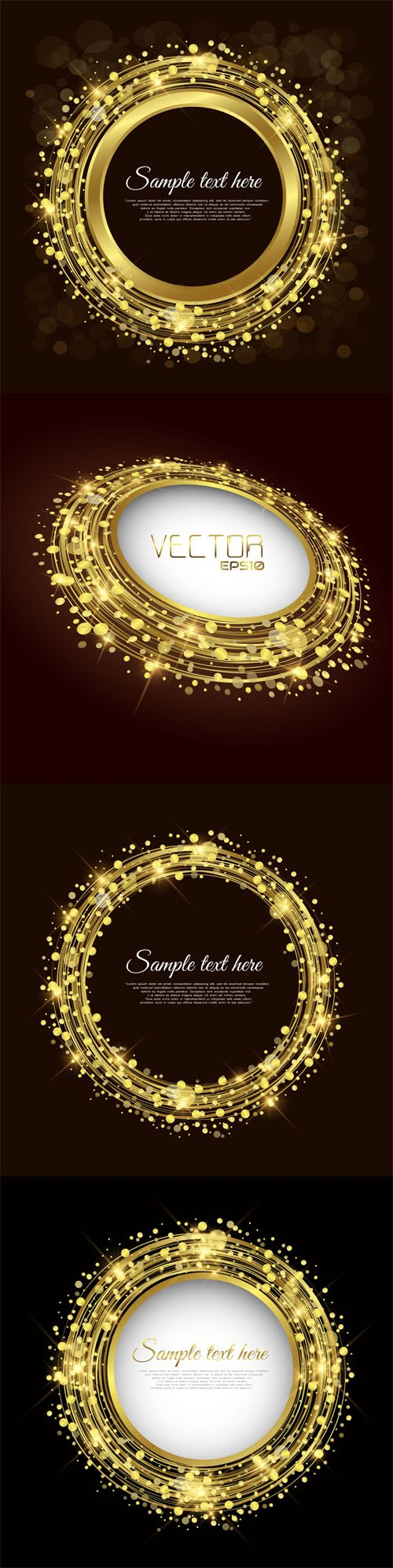 Gold Round Frames - Vector Clipart