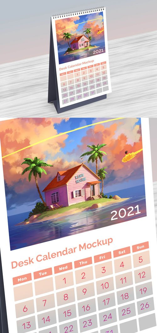 2021 Table Desktop Calendar PSD Mockup