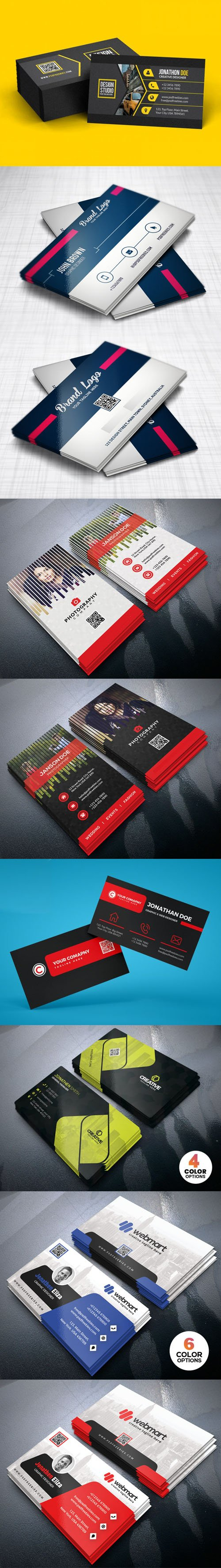 16 Multipurpose Business Cards PSD Templates Collection