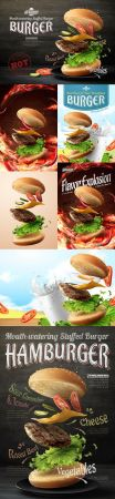 Advertizing of hot and cold hamburgers design in 3d illustration