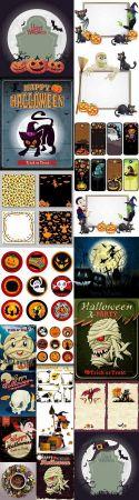 Halloween sticker flyer banner ghost pumpkin Thanksgiving
