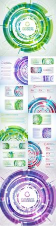 Virtual and technology abstract element background