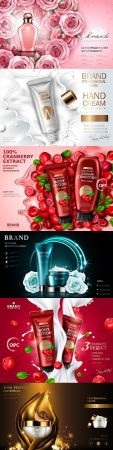 Cosmetics kit and perfume water advertising realistic design
