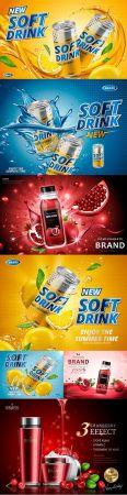 Lemon flavored soft drink and pomegranate juice design advertising