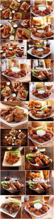 Buffalo barbecue hot chicken wings around ranch sauce   21xUHQ JPEG
