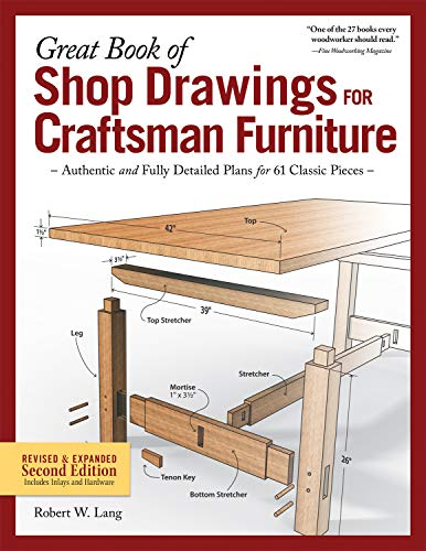 Great Book of Shop Drawings for Craftsman Furniture: Authentic and Fully Detailed Plans for 61 Classic Pieces, 2nd Edition