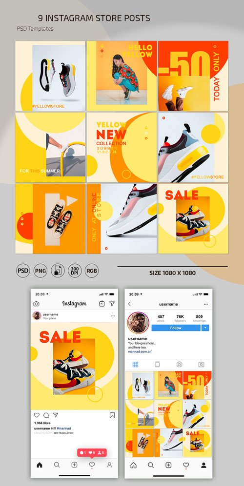 9 Instagram Store Posts PSD Templates