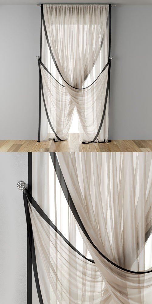 Tulle In The Narrow Window Or Doorway - 3D Models