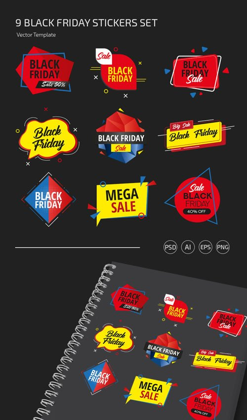 9 Black Friday Stickers Vector Templates Collection