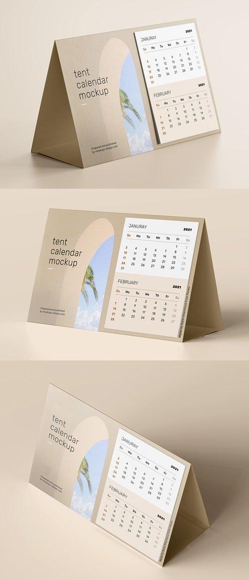 2021 Tent Calendar PSD Mockup