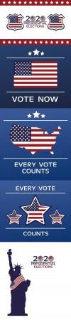 Usa elections day poster with flag in stars