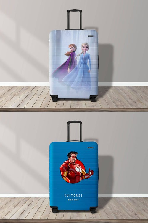 Travel Luggage Suitcase PSD Mockup