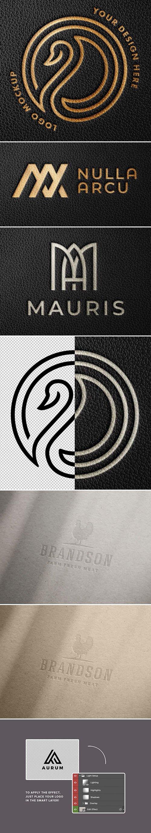 Debossed Foil & Letterpress Logo PSD Mockups