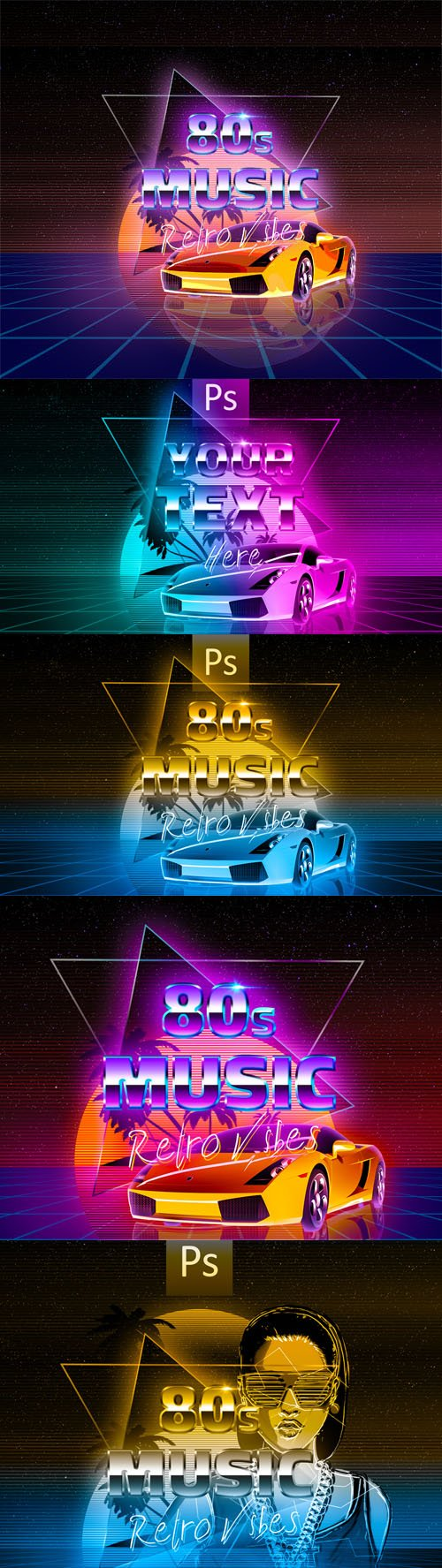 80's Retro Backgrounds & Text Effects for Photoshop