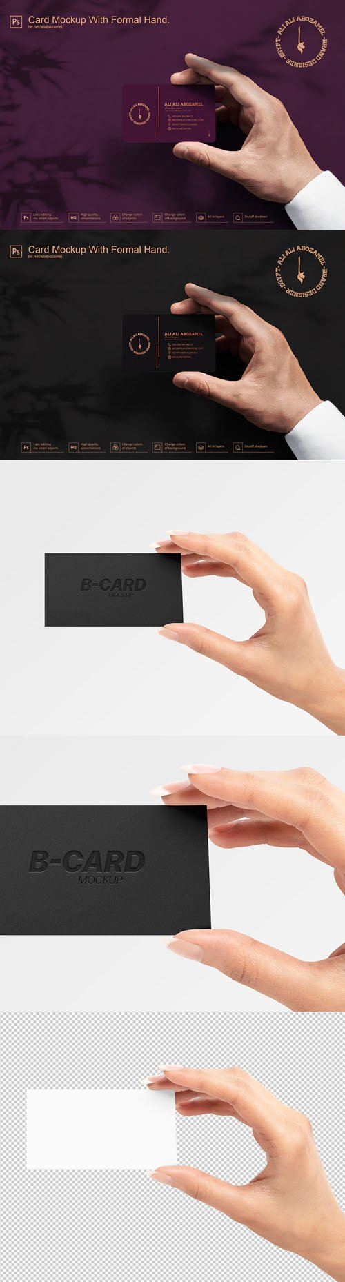 Business Card PSD Mockups With Hand