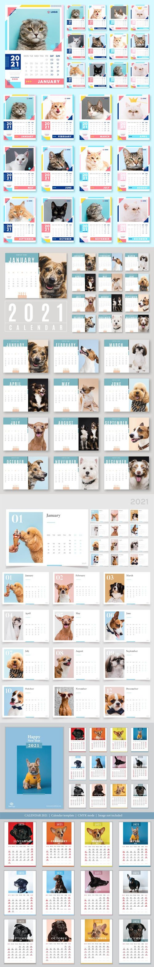 2021 Calendars Vector Templates with Cute Animals