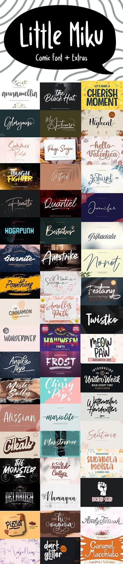 54 Super Fonts Pack + WebFonts & Vector Elements