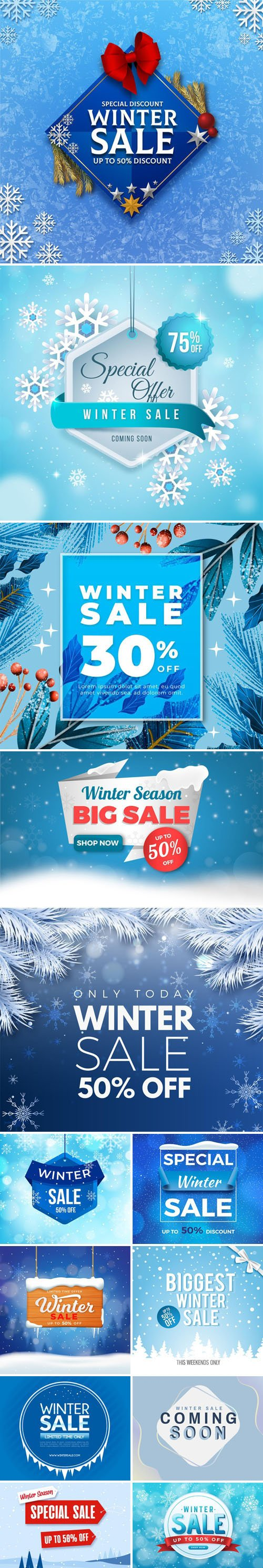13 Winter Sales Templates Collection in Vector