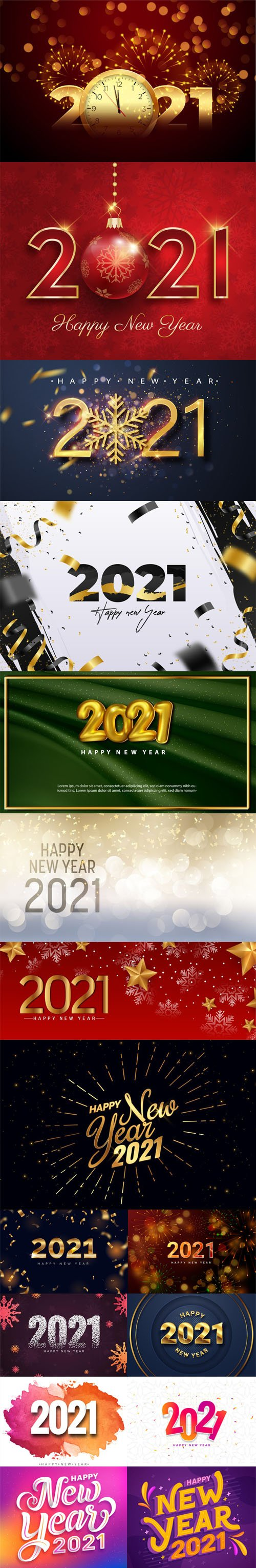 16 Happy New Year 2021 Backgrounds & Lettering Templates in Vector