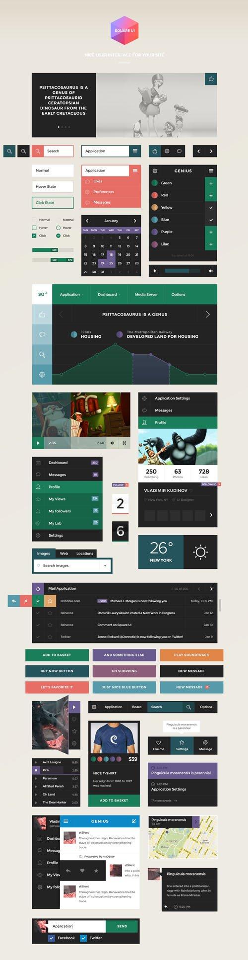 Square UI Kit PSD/HTML Template