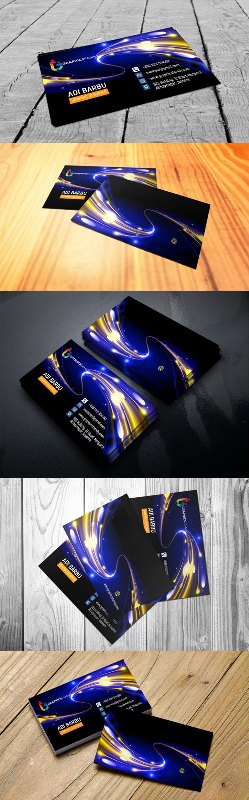 Futuristic Business Card PSD Mockup