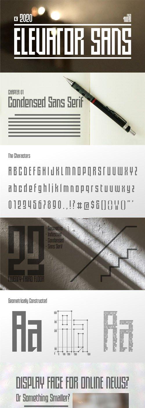Elevator - Condensed Geometric Sans Serif Font