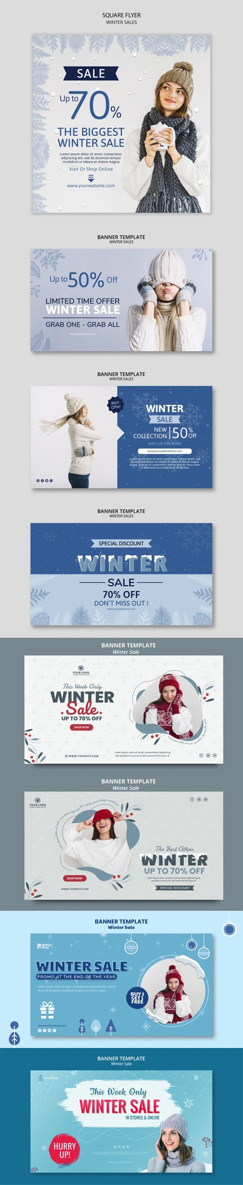 8 Winter Sales Banners PSD Templates Collection