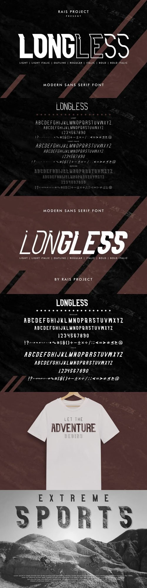 Longless - Modern Futuristic Sans Serif Display Font [7-Weights]