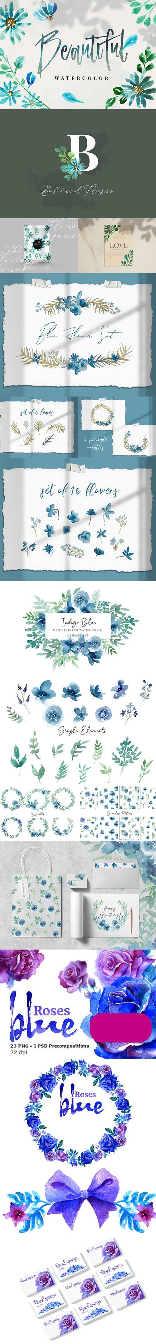 90+ Gracious Blue Watercolor Collection