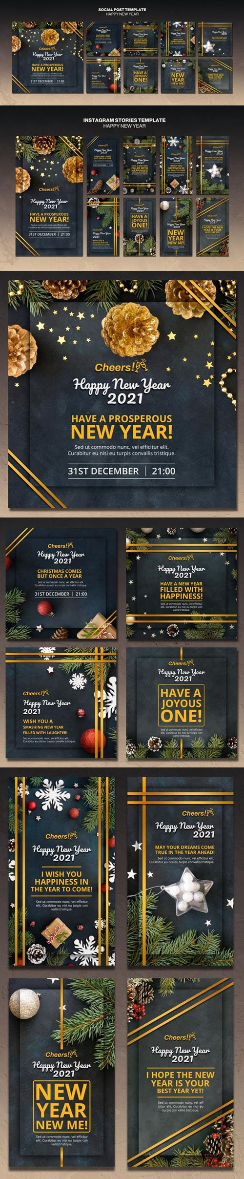Happy New Year 2021 Social Media Posts & Instagram Stories PSD Templates