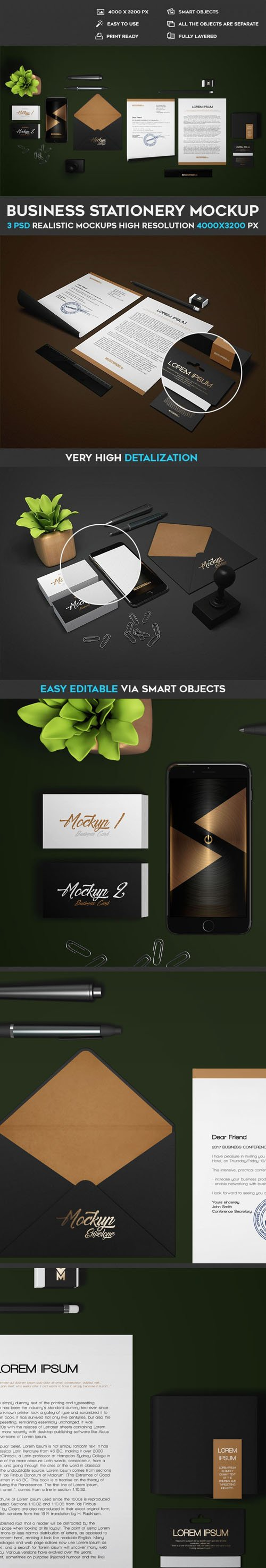 Realistic Business Stationery PSD Mockups Templates