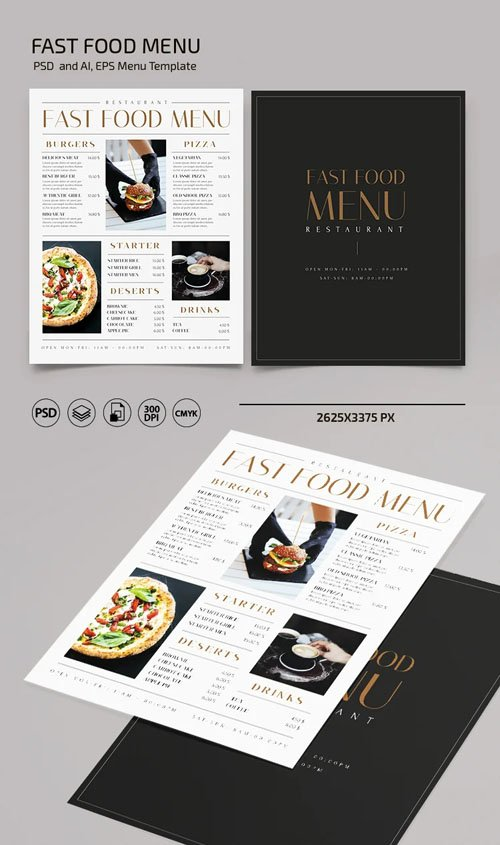 Fast Food Menu PSD Template + Ai/EPS