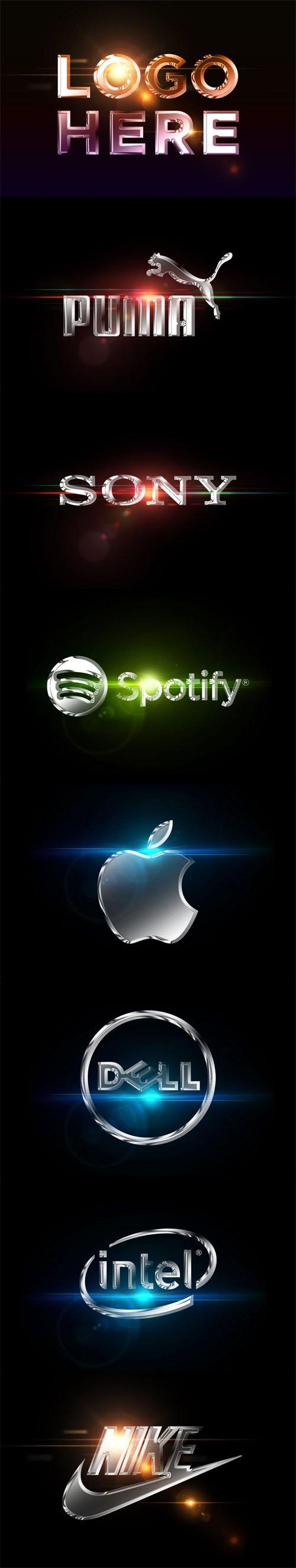 Chrome Effect Logo PSD Mockup