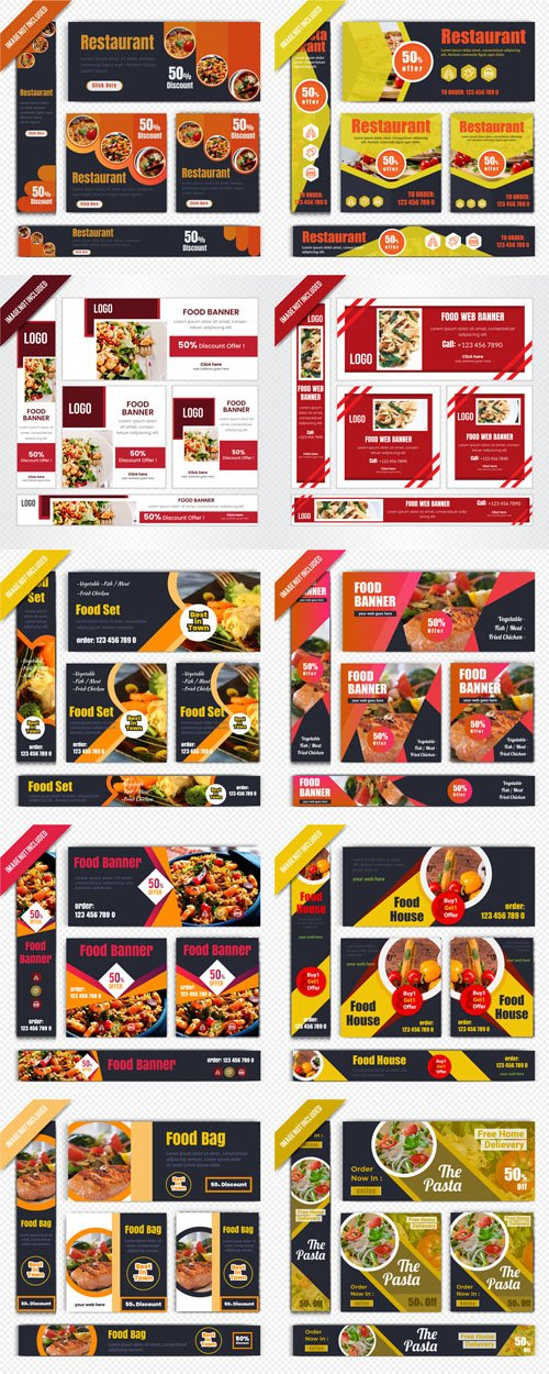 Food & Restaurant Banners Templates in Vector