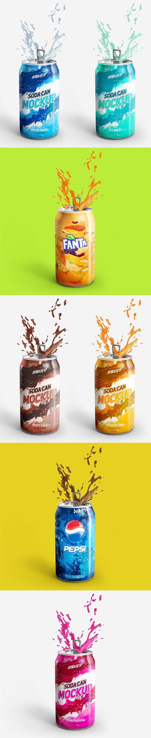 Soda Can PSD Mockup with Splash Effect