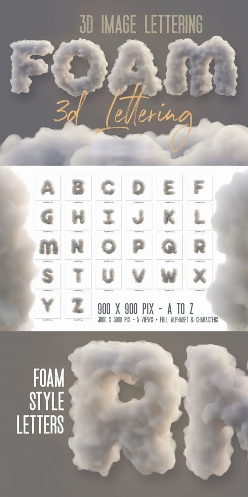 Foam Style A-Z Letters - 3D Image Lettering