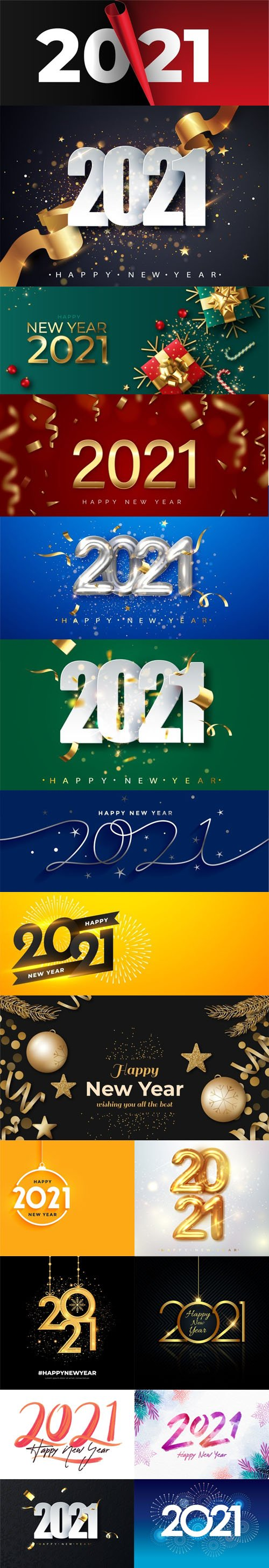 17 Happy New Year 2021 Backgrounds Collection in Vector