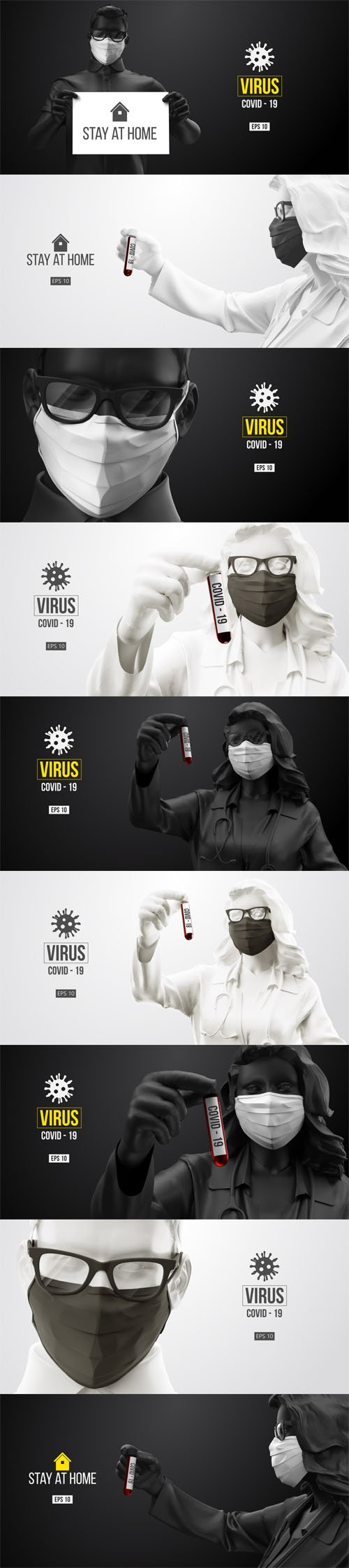 Coronavirus Medical Mask and Virus Protection Vector Banners