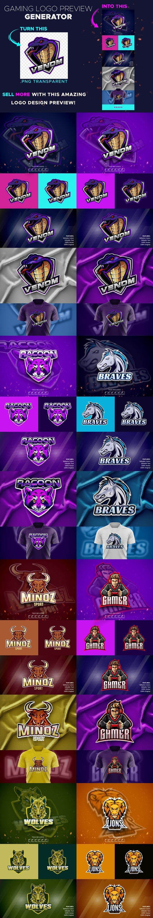 Gaming Logo Preview PSD Generator Collection