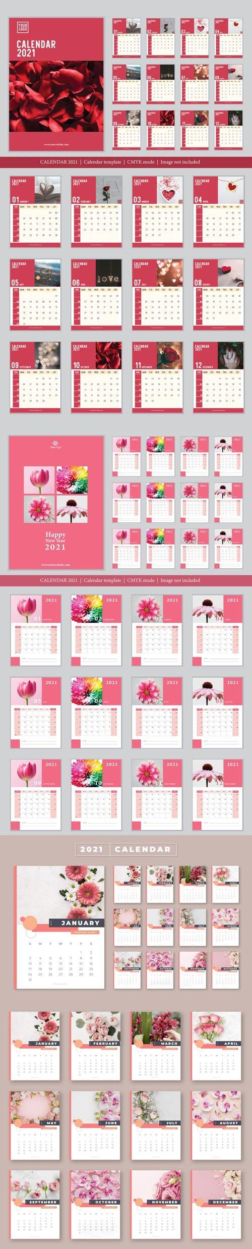 3 Vector Calendars 2021 in Romantic & Rosy Styles