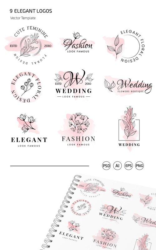 9 Elegant Logos Vector Templates + PSD