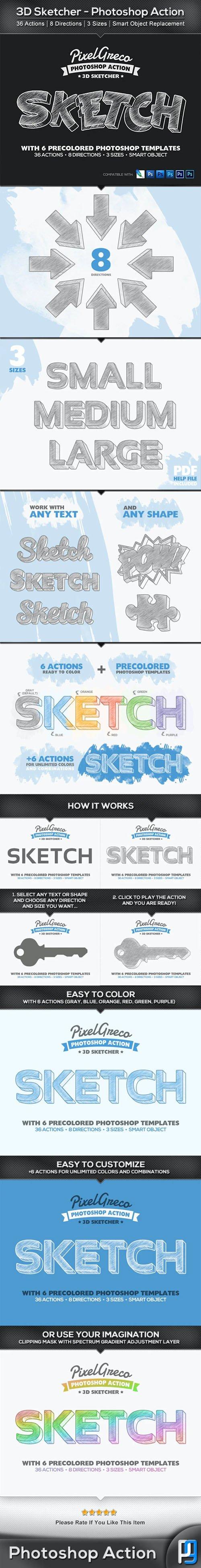 3D Sketcher - Photoshop Action + 6 Pre-colored Photoshop Templates