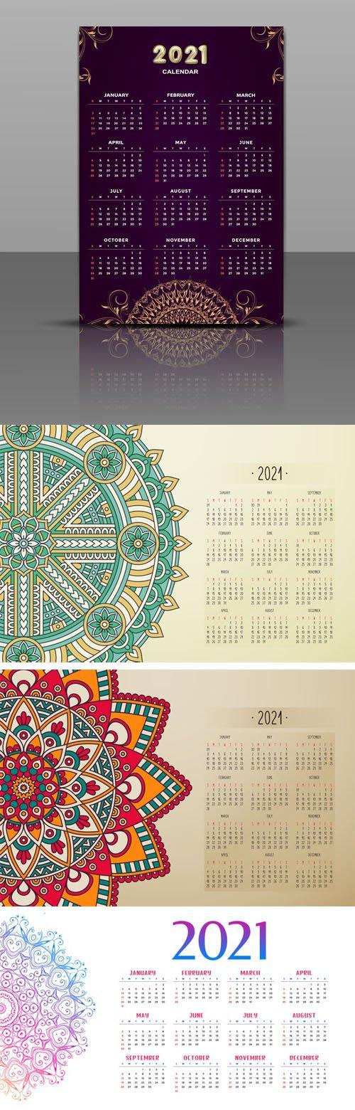 4 Vector Calendars 2021 Templates in Mandala Styles
